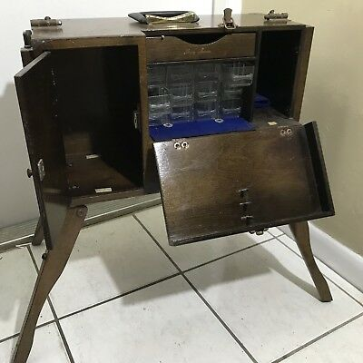 Vintage Custom Radio Control Repair Tool Box Wood Folding Leg Workbench Cabinet