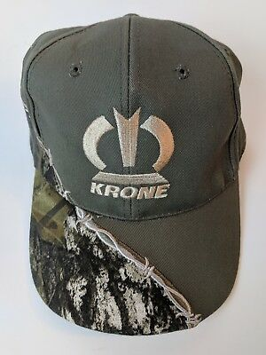 KRONE Olive Green Camouflage Trucker Hat Cap Tan Embroidered Logo One-Size