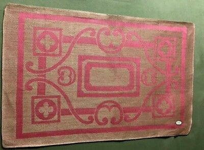 "NWT Early Vintage Five Irish Unbleached & Pink Linen Placemats 19 1/4"" x 12 1/2"""