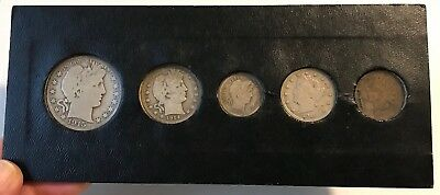 5pc 1907-1916 Coin Set BARBER Half Dollar,Quarter,Dime,Nickel,Indian Head Cent