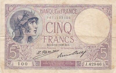 1930 France 5 Francs Note, Pick 72d