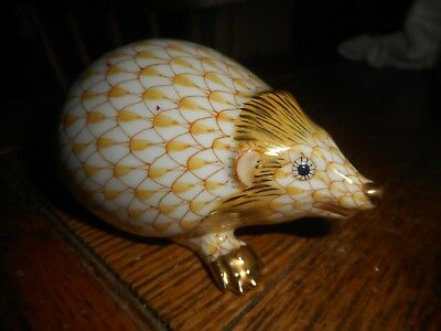 MINT Porcelain Herend Hedgehog Figurine-YELLOW FISHNET-24k Gold Accents-Hungary