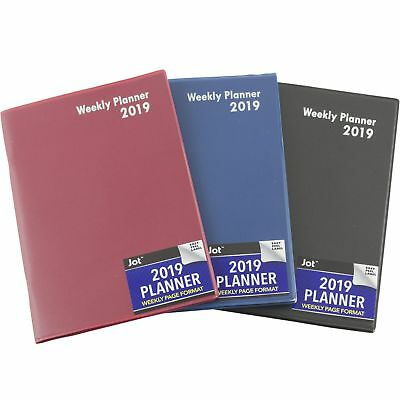 """2019 Weekly Planner Notebook Agenda Vinyl Cover Contacts Choose Color 5""""x7.25"""""""