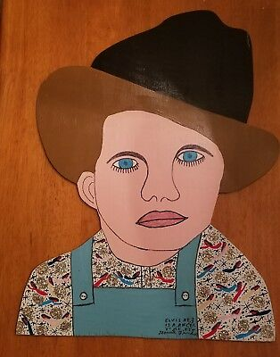 Howard Finster large Elvis Presley at 3 Is An Angle to Me painted cutout FolkArt