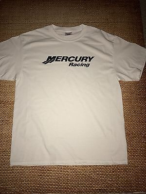 Mercury Racing T-Shirt WHITE X-LARGE WITH BLACK LOGO With Decals Boat