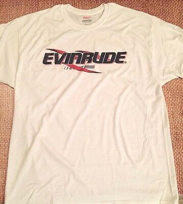 EVINRUDE Outboards WHITE T-SHIRT LARGE With Sticker Pair DECAL White Race Boat