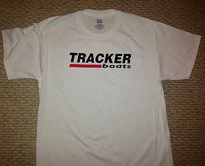 TRACKER BOATS MED WHITE T-Shirt with Free Sticker Bass Boat Fish You get 2 Decal