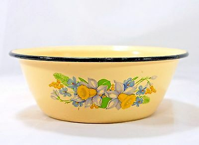 Vintage Enamelware Bowl Yellow Floral 9 in Mixing Serving Basin 28 on Bottom