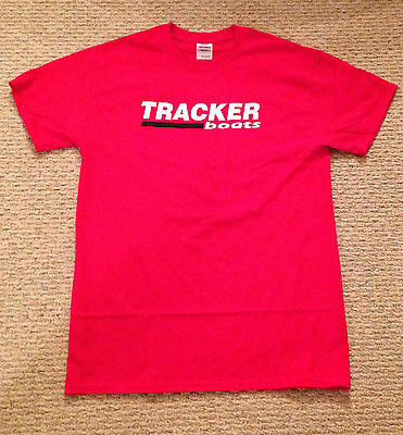 TRACKER BOATS MED RED T-Shirt with Free Sticker Bass Boat Fish You get 2 Decal