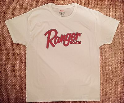 RANGER BOATS T-Shirt WHITE LARGE W/FREE Sticker DECAL YOU GET 2 Bass Boat