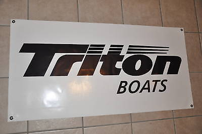 "TRITON BOATS BANNER 48"" * 24"" with Sticker Decal White Bass Boat"