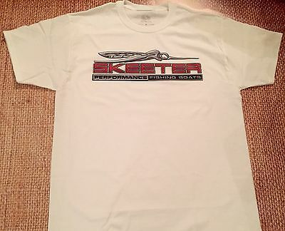 SKEETER BOATS T-Shirt WHITE MEDIUM W/FREE Sticker DECAL YOU GET 2 Bass Boat