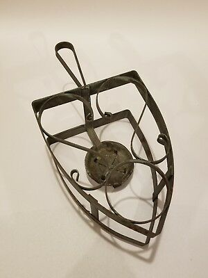 Vintage Metal Ornate Sad Iron Stand or Trivet with Warmer