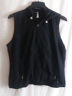 Maurices In Motion Mesh Hooded Vest Athletic Women's Size Large Black Hood