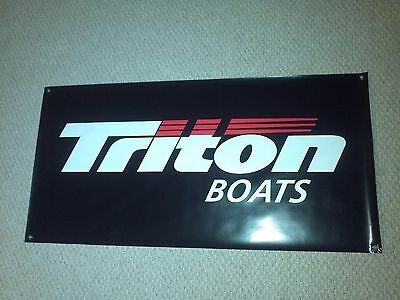 "TRITON BOATS BANNER BLACK 48"" * 24"" with Sticker Decal White Bass Boat"