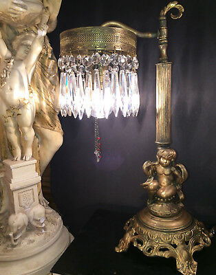 Fine Antique French Gilt Bronze Cherub Table Or Desk Lamp W/ Crystal Spears 1915