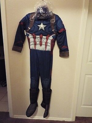 Rubies Captain America Costume boys size large 12-14 muscle chest