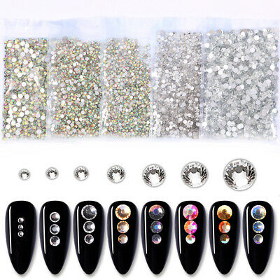 1728pcs Rhinestones 3D Nail Ongles Strass Crystal Dazzling Manucure Décoration