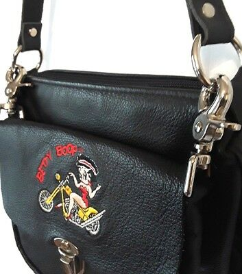 Vintage Tm Hearst USA Betty Boop Genuine Leather Biker Purse and Pouch Set -1995