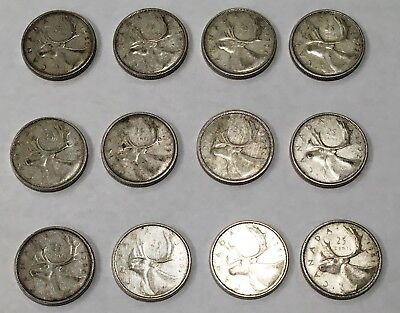 12 coin lot - 80% SILVER CANADIAN QUARTERS 1956 to 1964