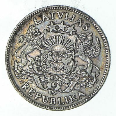 Roughly Size of Quarter 1924 Latvia 1 Lats - World Silver Coin - 5 Grams! *126