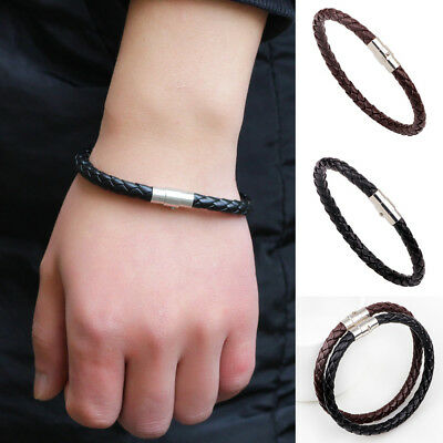 Fashion Mens Leather Braided Wristband Bracelet Stainless Steel Magnetic Clasp