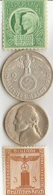 *us WW2  and - *german SILVER EAGLE(.625% ,25 mm,1607 oz)  coins and  STAMPS