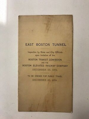 1904 East Boston Elevated Railway Company Opening Of Tunnel Inspection Brochure