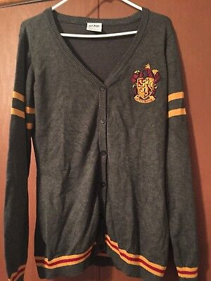 Harry Potter Gryffindor Women's Size XL Gray Cardigan Sweater Button Up