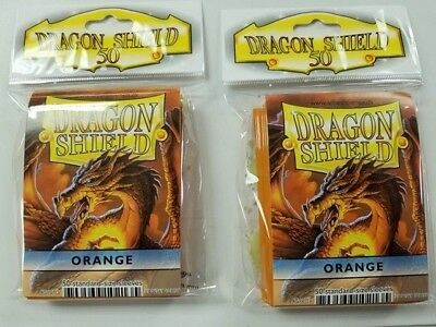 2 Packs of 50 - DRAGON SHIELD SLEEVES *ORANGE*  MADE FOR PLAYERS by PLAYERS
