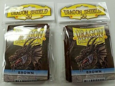 2 Packs of 50 - DRAGON SHIELD SLEEVES *BROWN* MADE FOR PLAYERS by PLAYERS