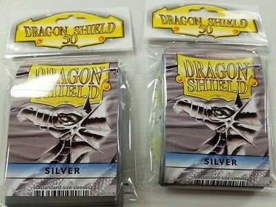 2 Packs of 50 - DRAGON SHIELD SLEEVES **SILVER ** MADE FOR PLAYERS by PLAYERS