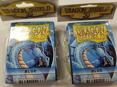 2 Packs of 50 - DRAGON SHIELD SLEEVES *BLUE* MADE FOR PLAYERS by PLAYERS