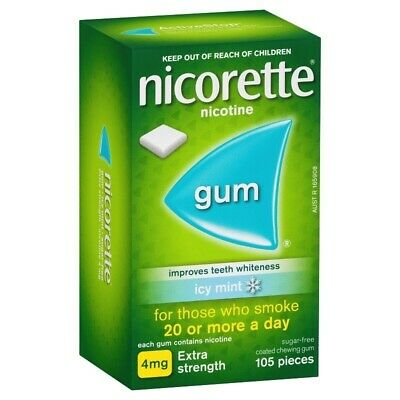 New Nicorette Extra Strength 4mg Chewing Gum Icy Mint 105