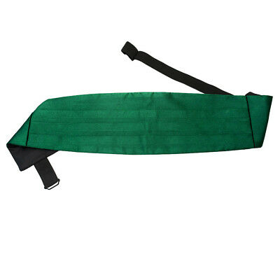 DQT Satin Plain Solid Emerald Green Wedding Adjustable Mens Cummerbund