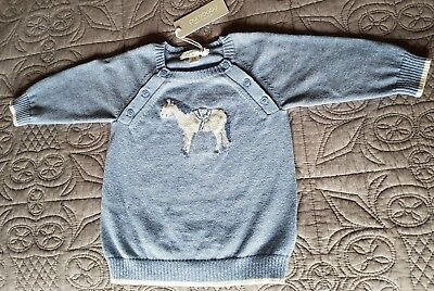 NEW Purebaby 3-6 Months 00 pony intarsia jumper BNWT RRP $59.95 pure baby