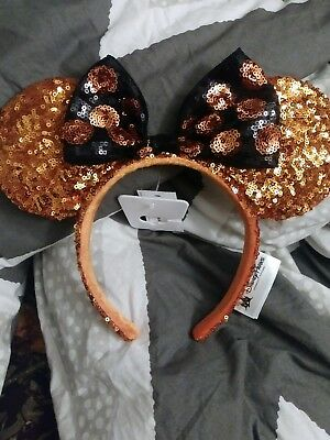 Disney Parks Minnie Mouse Halloween Orange Sequin Ears Headband with Black Bow
