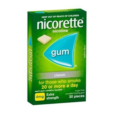 New Nicorette Extra Strength 4mg Chewing Gum Classic 30