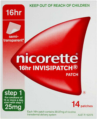 New Nicorette 16 Hour Invisipatch Step 1 25mg Patches 14