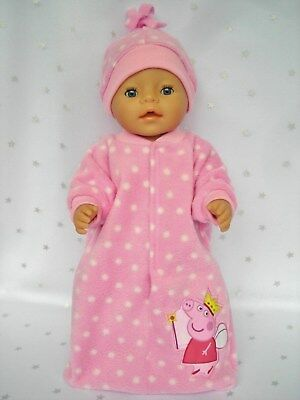 """Dolls clothes for 17""""Baby Born doll~PEPPA PIG FAIRY PINK/WHITE SPOT SLEEPING BAG"""