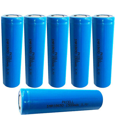 6x PKCELL High Drain 18650 Vape Batteries Li-ion Battery 1500mAh 3.7V Flat Top