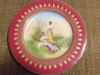Royal Vienna Painted Plate of Maidens Beehive Mark.