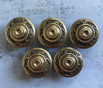 5 ~ Vintage Ornate SOLID BRASS Dresser Cabinet DRAWER KNOBS Pulls - Set #1