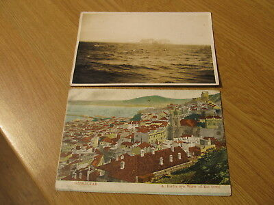 TWO OLD UNADDRESSED Gibraltar 'The Rock' From The Sea & Town View Postcards