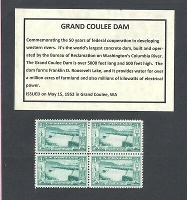 1009 - Grand Coulee Dam - US Block of 4 with Informational Card -a