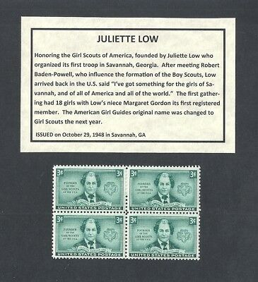 974 - Juliette Low - US Block of 4 with Informational Card -a