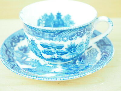 Blue & White Willow China Tea Cup & Saucer Set (L269)
