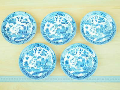 Blue Willow Pattern Saucers Set 'x5' Old Saucers (L272)