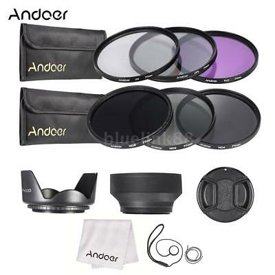 77mm UV CPL FLD ND 2 4 8 Lens Filter Kit Pouch + Hood + Cap for Canon Nikon S8O4