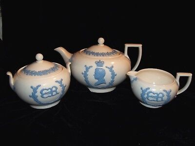 1937 Wedgwood Queensware Coronation King Edward VIII Teapot ,Creamer ,Sugar Bowl